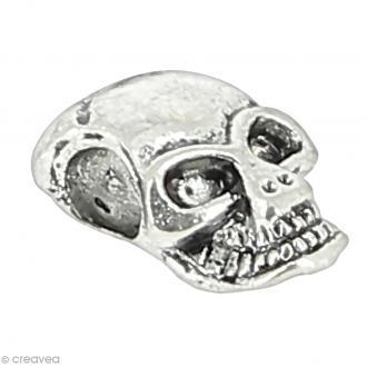 Perle intercalaire argentée - Tête de mort - 1,2 x 0,7 x 0,5 cm - 1 pce