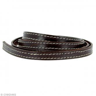 Cordon cuir 1 cm plat surpiqué - Marron - 1 mètre
