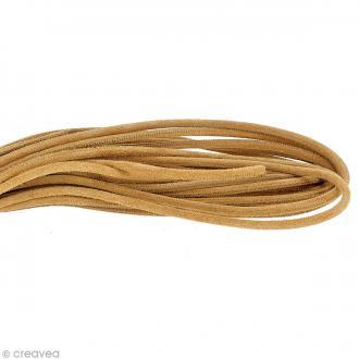 Cordon cuir suédé 4 mm rond - Marron clair - Au mètre (sur mesure)