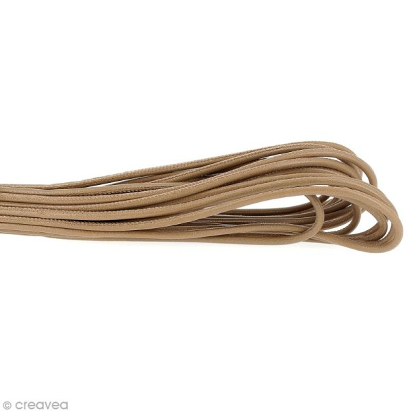 Cordon cuir lisse 4 mm rond - Taupe - Au mètre (sur mesure) - Photo n°1