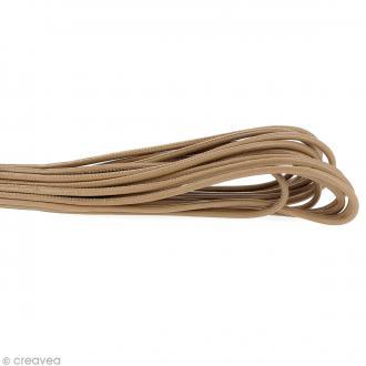 Cordon cuir lisse 4 mm rond - Taupe - Au mètre (sur mesure)