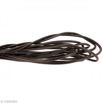 Cordon cuir lisse 4 mm rond - Marron foncé - Au mètre (sur mesure)