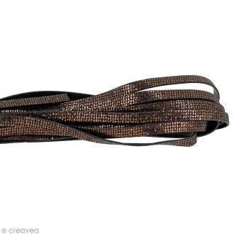 Cordon cuir 10 mm plat à paillettes - Marron - Au mètre (sur mesure)
