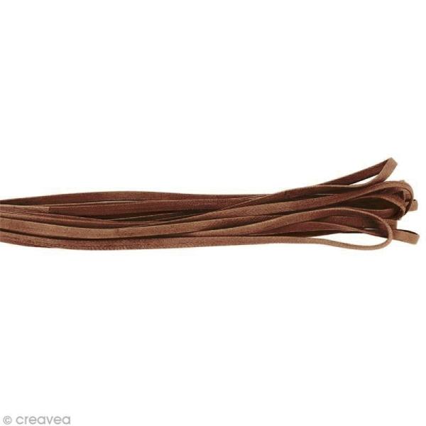 Cordon cuir 5 mm plat uni - Beige sable - Au mètre (sur mesure) - Photo n°1