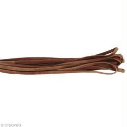 Cordon cuir 5 mm plat uni - Beige sable - Au mètre (sur mesure)