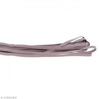 Cordon cuir 5 mm plat uni - Gris taupe - Au mètre (sur mesure)