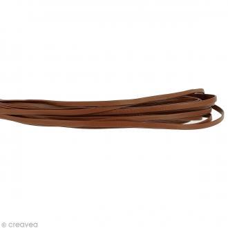 Cordon cuir 5 mm plat uni - Marron clair - Au mètre (sur mesure)