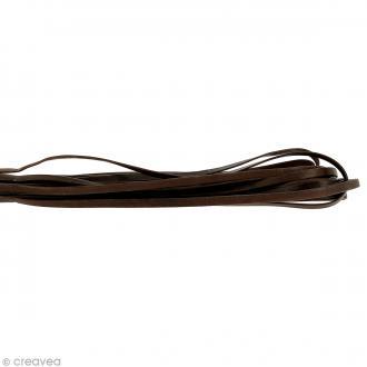 Cordon cuir 5 mm plat uni - Marron - Au mètre (sur mesure)
