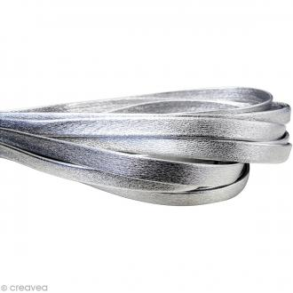 Cordon cuir 1 cm plat uni - Argent - Au mètre (sur mesure)