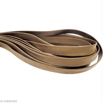 Cordon cuir 1 cm plat uni - Beige sable - Au mètre (sur mesure)