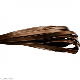 Cordon cuir 1 cm plat uni - Bronze - Au mètre (sur mesure)