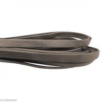 Cordon cuir 1 cm plat uni - Gris taupe - Au mètre (sur mesure)