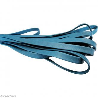 Cordon cuir 1 cm plat uni - Bleu turquoise - Au mètre (sur mesure)