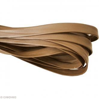 Cordon cuir 1 cm plat uni - Marron clair - Au mètre (sur mesure)