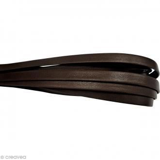Cordon cuir 1 cm plat uni - Marron - Au mètre (sur mesure)