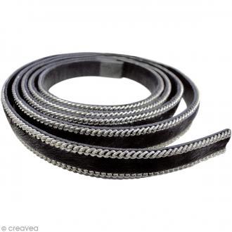 Cordon cuir 1 cm plat avec chaînes et poils - Noir - 1 mètre
