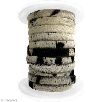 Cordon cuir 5 mm plat avec poils - Peau de vache - 5 mètres