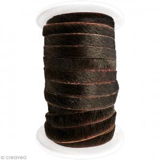 Cordon cuir 5 mm plat avec poils - Marron foncé - 5 mètres