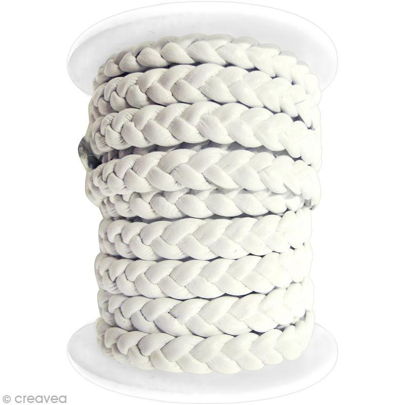 Lacet en suédine tressée 5 mm - Blanc - Au mètre (sur mesure) - Photo n°1