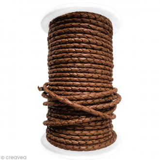 Cordon de cuir tressé 5 mm - Marron noisette - Au mètre (sur mesure)