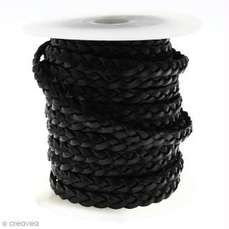 Cordon de cuir plat tressé 5 mm - Noir - Au mètre (sur mesure)