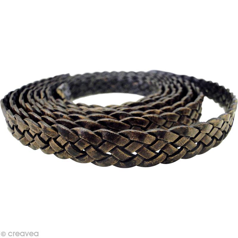 Cordon simili cuir tressé 1,4 cm plat - Marron - 2 mètres - Cordon ... 8212cc05ea3