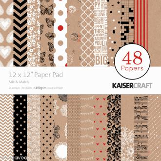 Papier scrap KaiserCraft - Mix & Match - 48 feuilles 30,5 x 30,5 cm