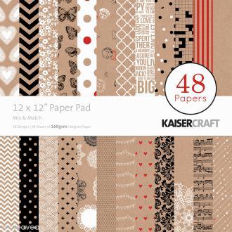 Papier scrap KaiserCraft - Mix & Match - 48 feuilles 30,5 x 30,5 cm