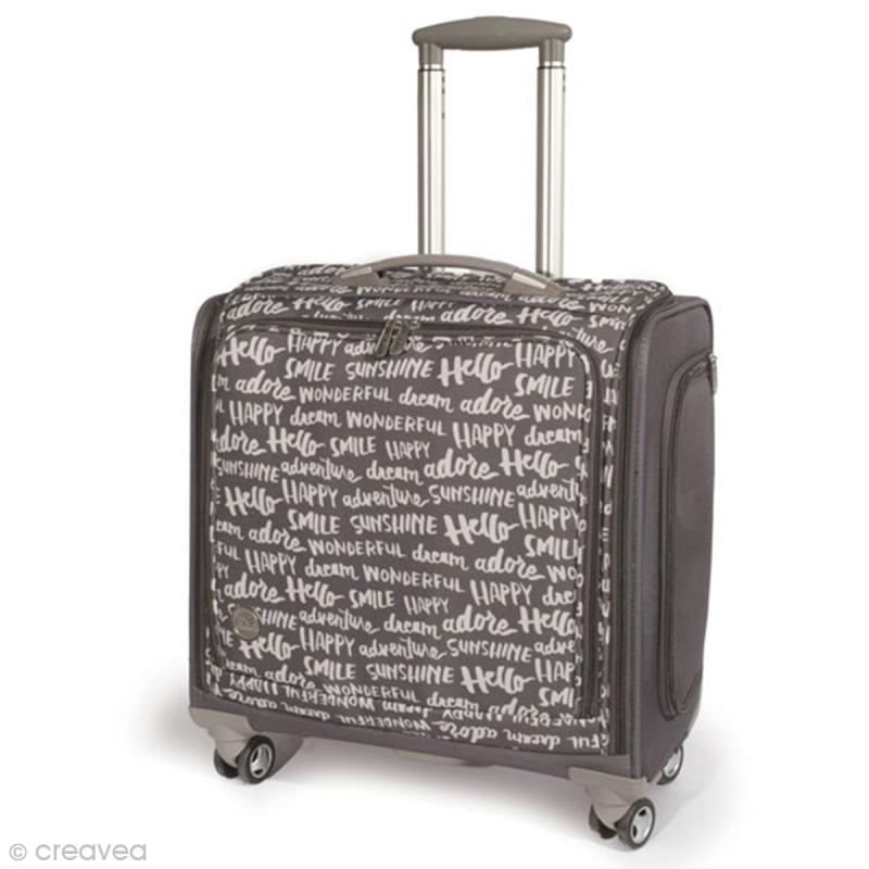 valise de rangement roulettes 360 crafter 39 s bag imprim s criture sac scrapbooking creavea. Black Bedroom Furniture Sets. Home Design Ideas