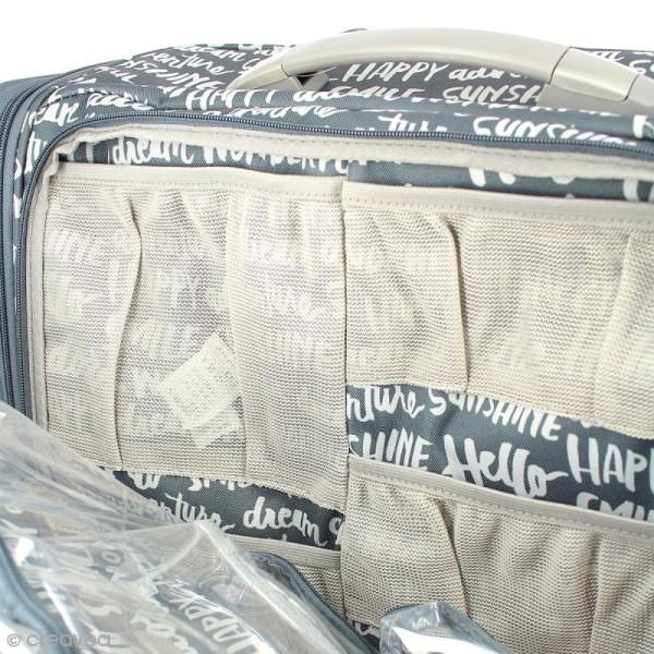 Valise de rangement à roulettes - 360 crafter's bag - Imprimés écriture - Photo n°2