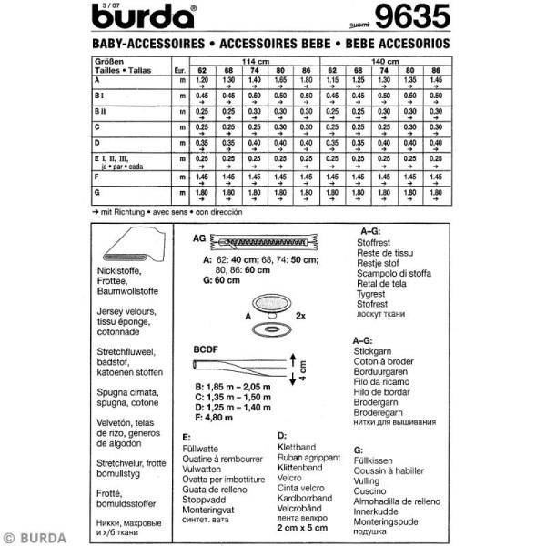 Patron Burda - Enfant - Ensemble de lit pour bébé - 9479 - Photo n°5