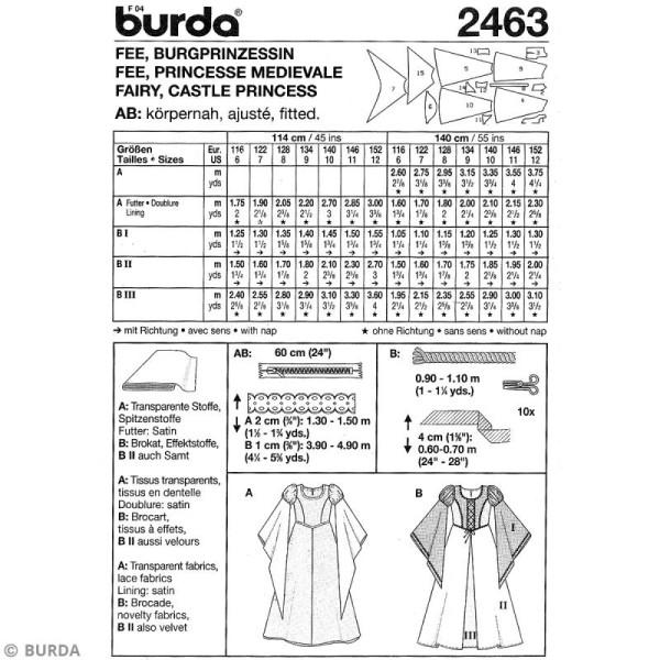 Patron Burda - Enfant - Déguisement de fée et princesse médiévale - 2463 - Photo n°4