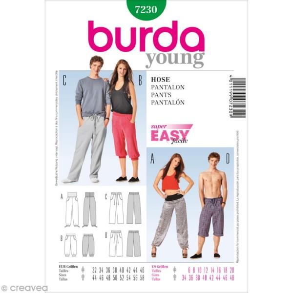 Patron Burda - Femme et homme - Pantalon décontracté - 7230 - Photo n°1