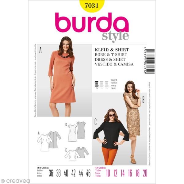 Patron Burda - Femme - Robe et tee-shirt - 7031 - Photo n°1