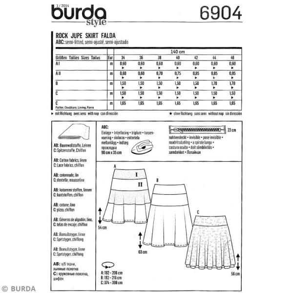Patron Burda - Femme - Jupe évasée - 6904 - Photo n°3