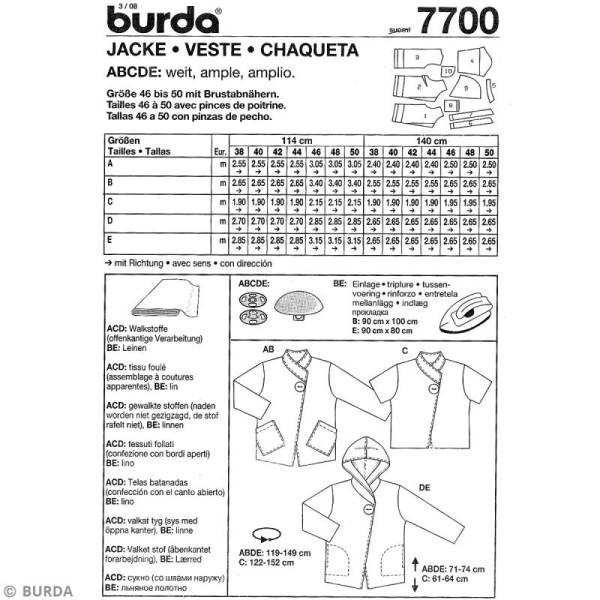 Patron Burda - Femme - Veste à bouton - 7700 - Photo n°4
