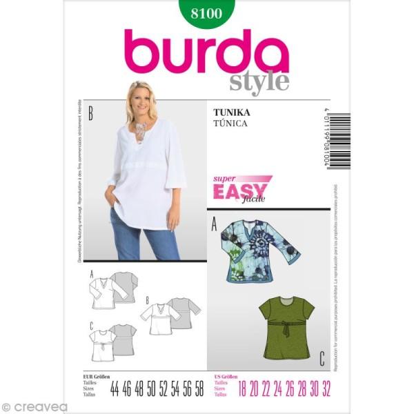 Patron Burda , Femme , Tunique grande taille , 8100 , Photo n°1