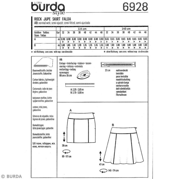 Patron Burda - Jeune fille - Jupe courte - 6928 - Photo n°4