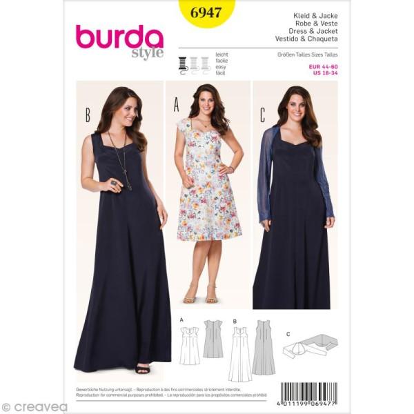 Patron Burda , Femme , Robe et cache,épaules grande taille , 6947 , Photo