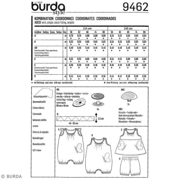 Patron Burda - Enfant - Ensemble barboteuse et robe - 9462 - Photo n°4