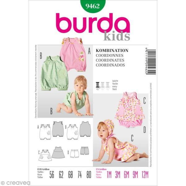 Patron Burda - Enfant - Ensemble barboteuse et robe - 9462 - Photo n°1