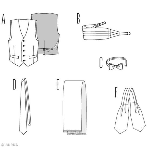 Patron Burda - Homme - Gilet et accessoires de soirée - 3403 - Photo n°3