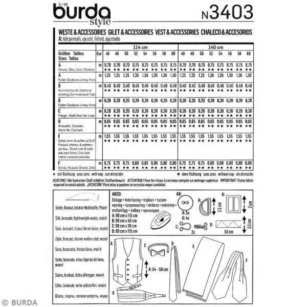 Patron Burda - Homme - Gilet et accessoires de soirée - 3403 - Photo n°4