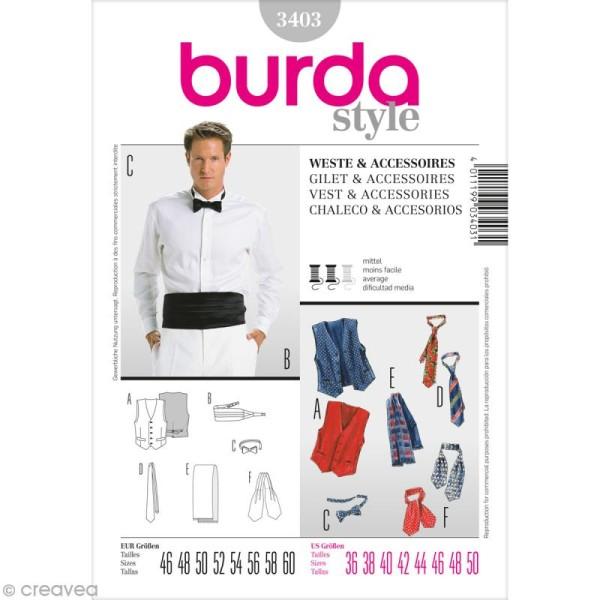 Patron Burda - Homme - Gilet et accessoires de soirée - 3403 - Photo n°1