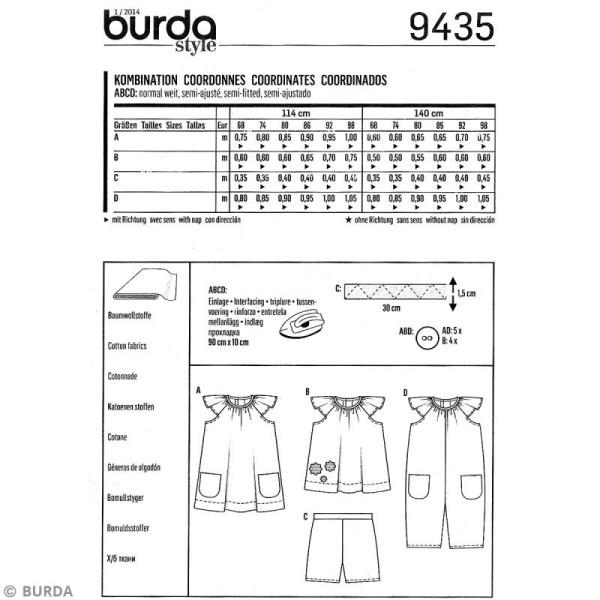 Patron Burda - Enfant - Robe et salopette à volants - 9435 - Photo n°4