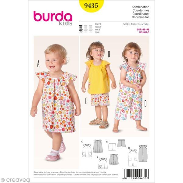 Patron Burda - Enfant - Robe et salopette à volants - 9435 - Photo n°1