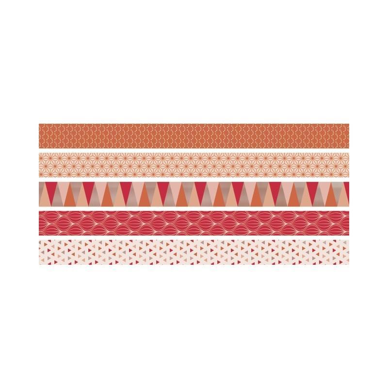 5 rubans d coratifs adh sifs mini corail masking tape creavea. Black Bedroom Furniture Sets. Home Design Ideas