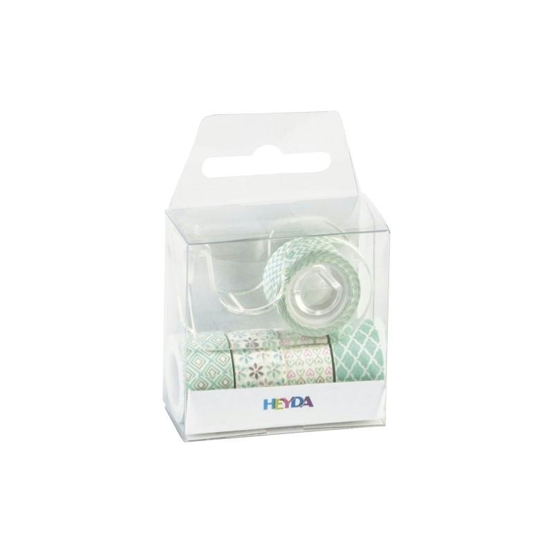 5 rubans d coratifs adh sifs mini menthe masking tape creavea. Black Bedroom Furniture Sets. Home Design Ideas