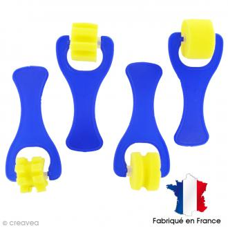 Lot de 4 rouleaux mousse 2,5 cm à empreintes fantaisies