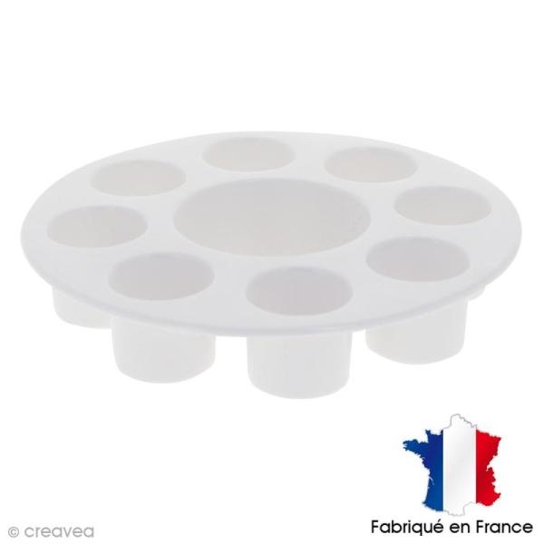 Palette plastique ronde 18 cm - 8 godets - Photo n°1